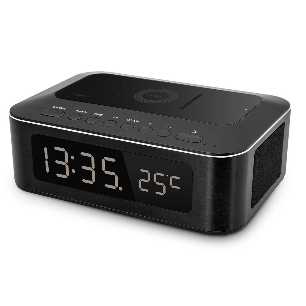LuguLake Wireless Bluetooth Speaker and Alarm Clock with NFC, QI, Thermometer, Built-in Microphone and Large LCD Display